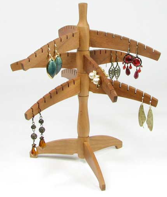 wood earring tree