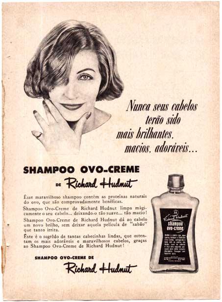 Propaganda dos anos 40 do Shampoo Ovo Creme de Richard Hudnut.