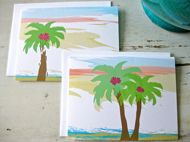 palm tree note card, beach notecard