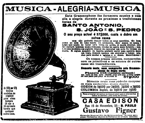 Propaganda dos Gramofones da Casa Edison, apresentado em 1915. Estabelecimento na cidade de São Paulo.