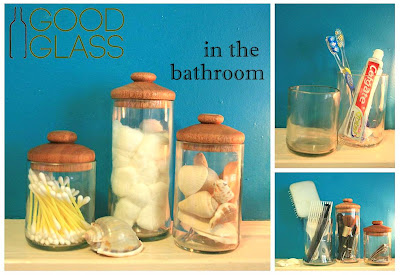 organize bathroom with recycled glasses with wooden lids by Good Glass