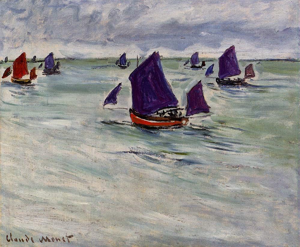 Bateaux de pêche au large de Pourville (1882)