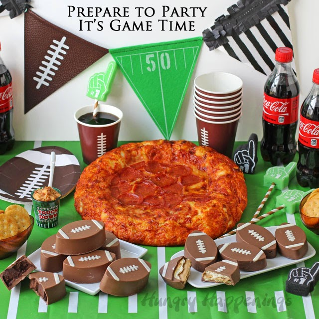 Game Time Ritz Cracker Crunch Footballs, Coca-Cola Truffle Footballs, and a Football Helmet Pepperoni Topped DiGiorno Pizza from HungryHappenings.com