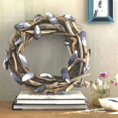 grapevine wreath with driftwood