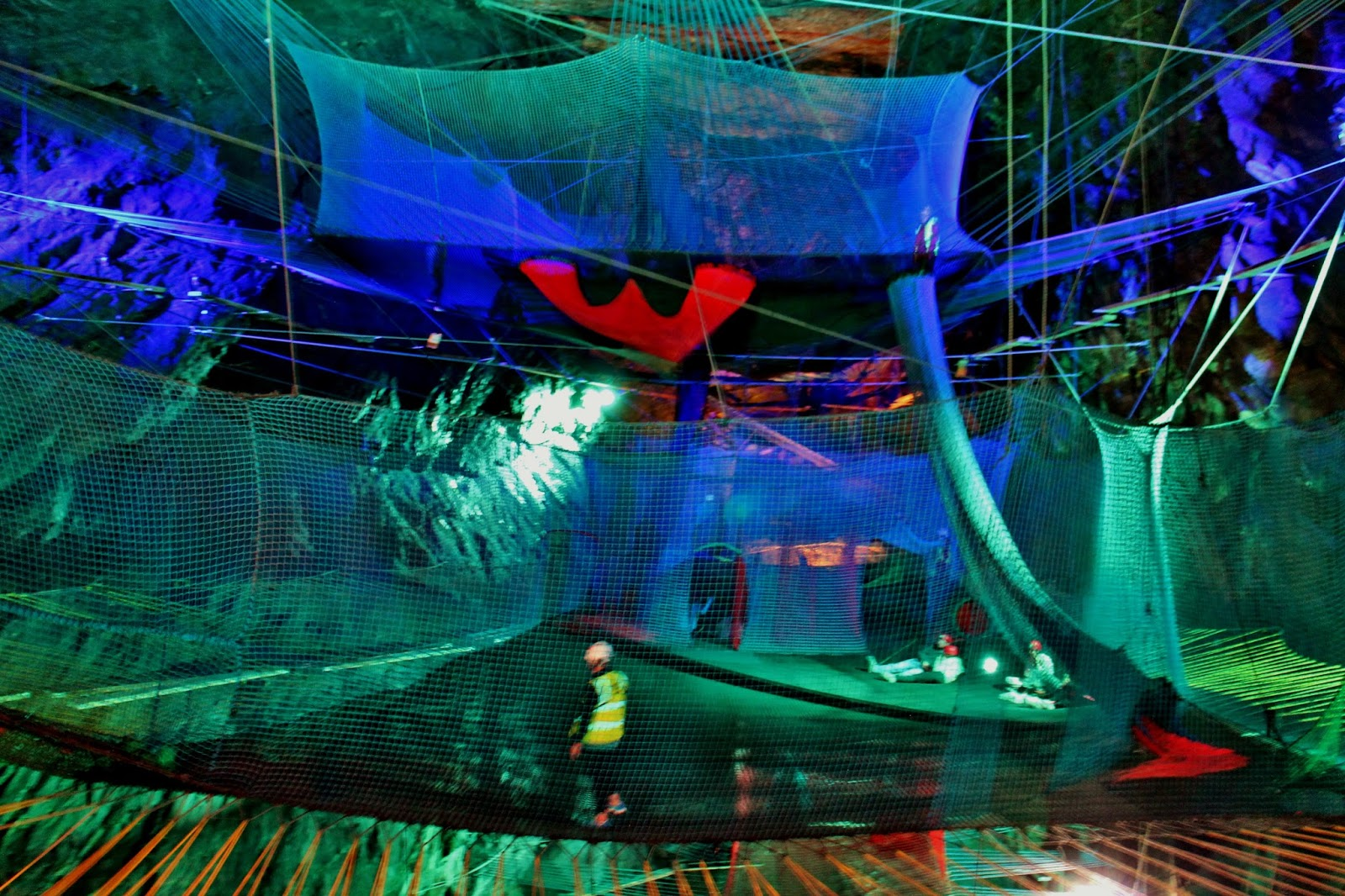 Thoughts And Theatre Wales Photo Diary - Gigantic underground trampoline inside cave looks amazing