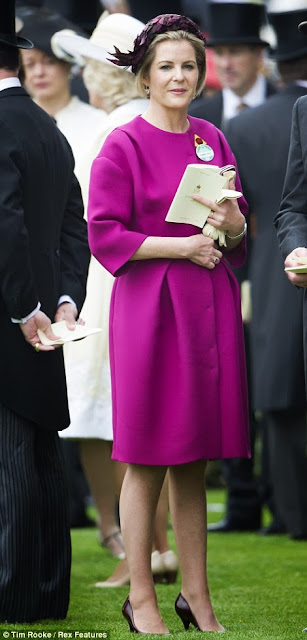 Viscountess Serena Linley, looked wonderful in purple coat-dress on day one of Royal Ascot, 2013