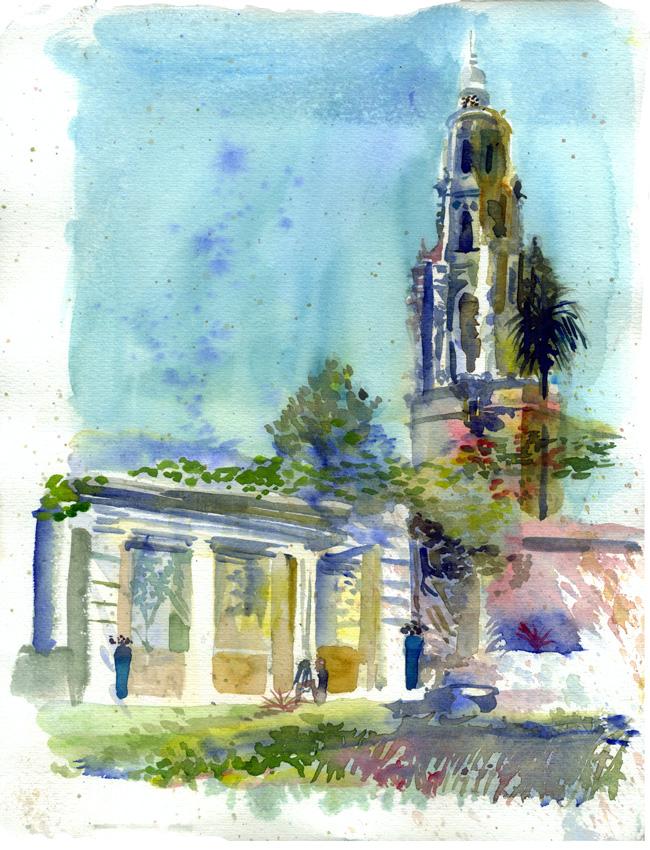 Shiho Nakaza San Diego West Coast Urban Sketchers Sketchcrawl San Diego watercolor Balboa Park Alcazar Garden
