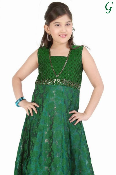 Green-Long-Gown-Latest-Fashion-Kids Images