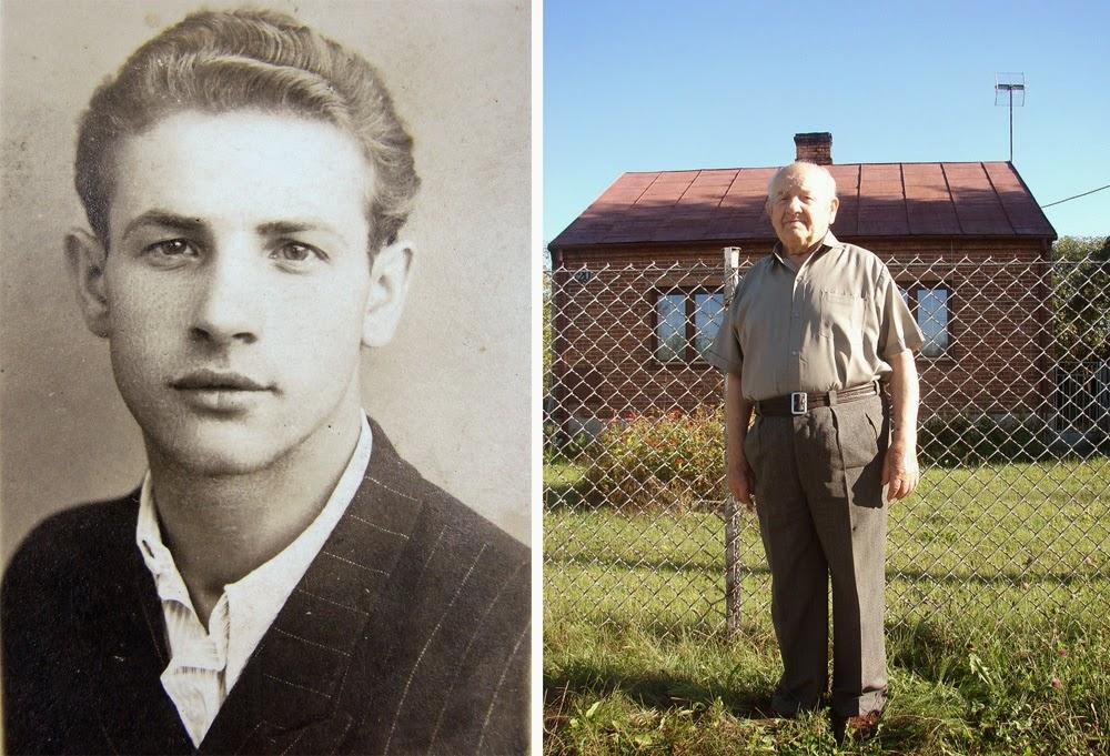Stanisław Brzeziński z Koczwary k. Końskich - pancerniak od Maczka. Fotografia z początku lat 40. i współczesna z 2013 roku. Foto. współczesne Radosław Nowek.