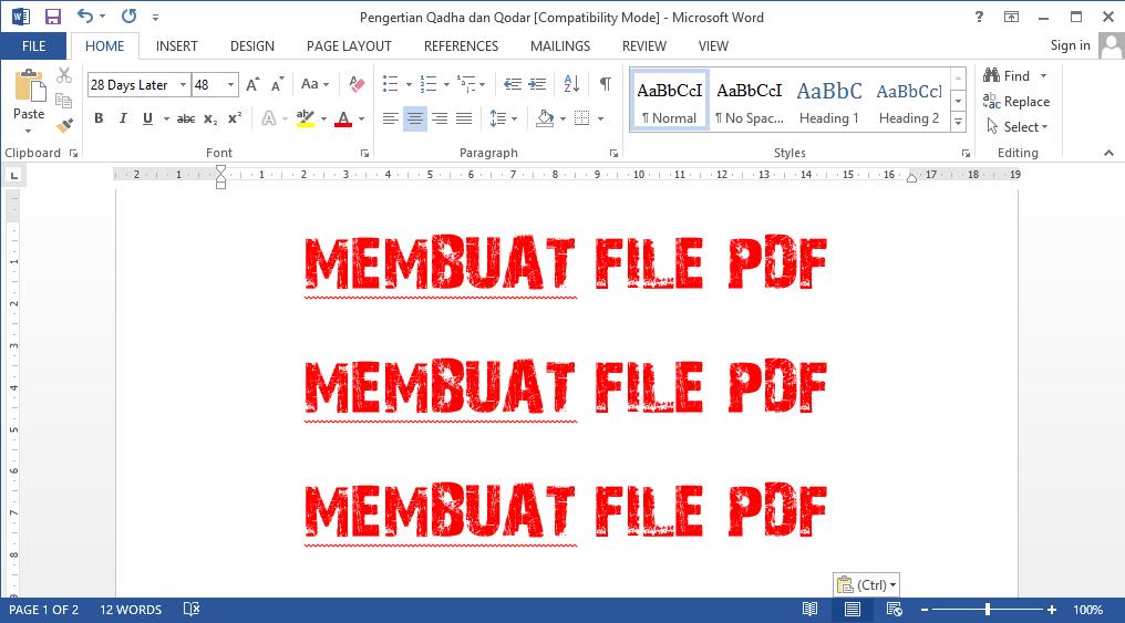 Cara Mengubah File Word Menjadi PDF Pada Microsoft Office 2013 dan 2010 1