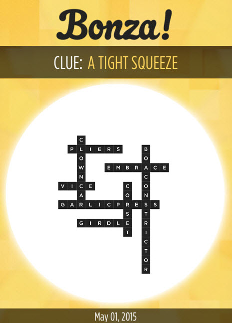 Bonza Daily Word Puzzle A Tight Squeeze Answers May 1, 2015