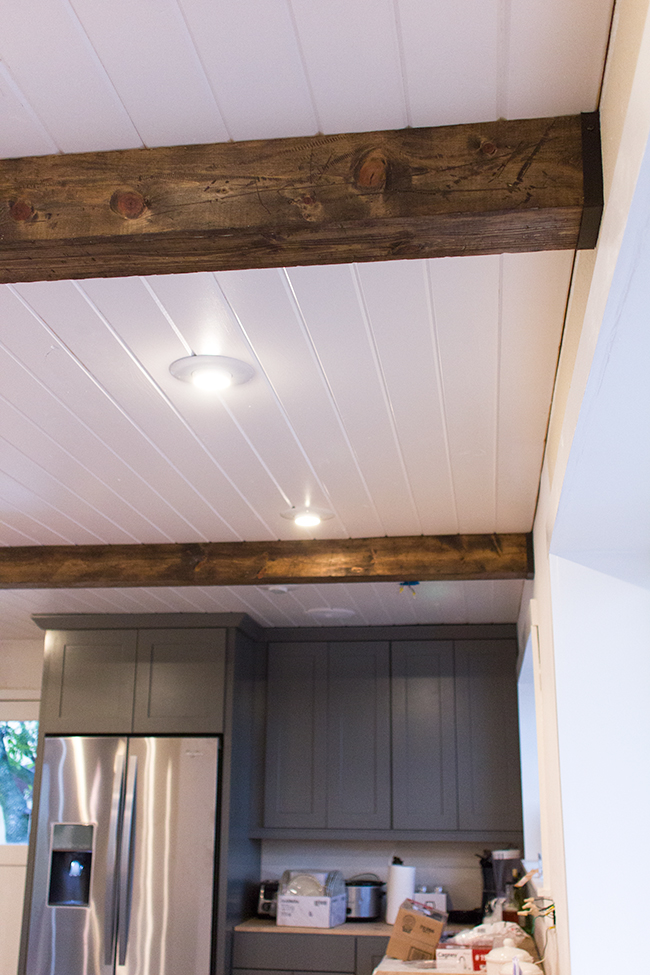 Kitchen chronicles diy wood beams jenna sue design blog for Fake wood beams for ceiling