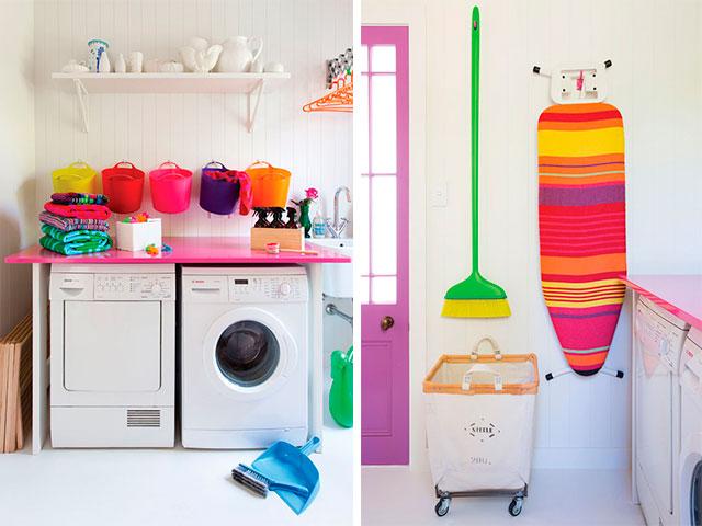 lavanderia com decoração colorida