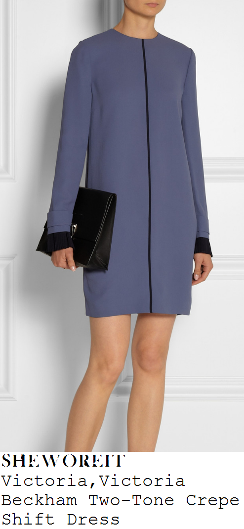 jenna-coleman-blue-long-sleeve-cuff-detail-a-line-60s-shift-dress-dr-who
