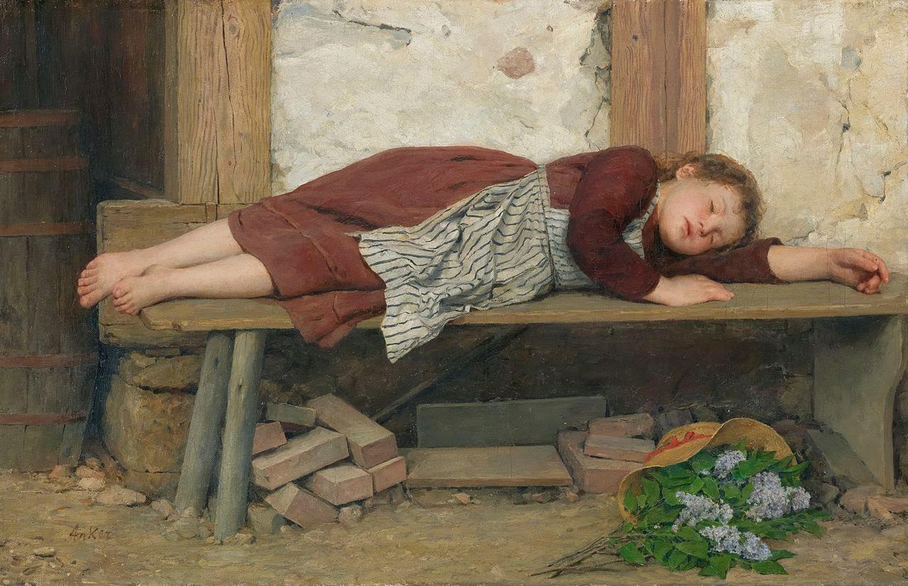 albert anker, painting review,homeless girl