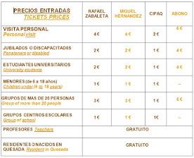 PRECIOS DE ENTRADAS / TICKETS PRICES / Servicio de audioguía gratuito Museo Zabaleta