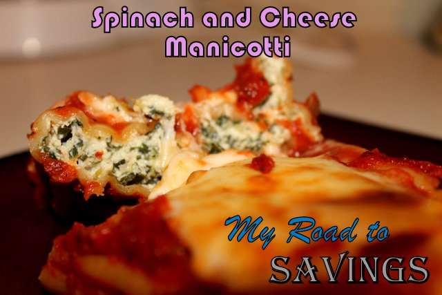 ... the Ropes...One Recipe at a Time: Spinach and Cheese Manicotti