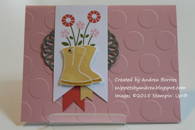 Simple, feminine card made with Flower Filled stamp set.
