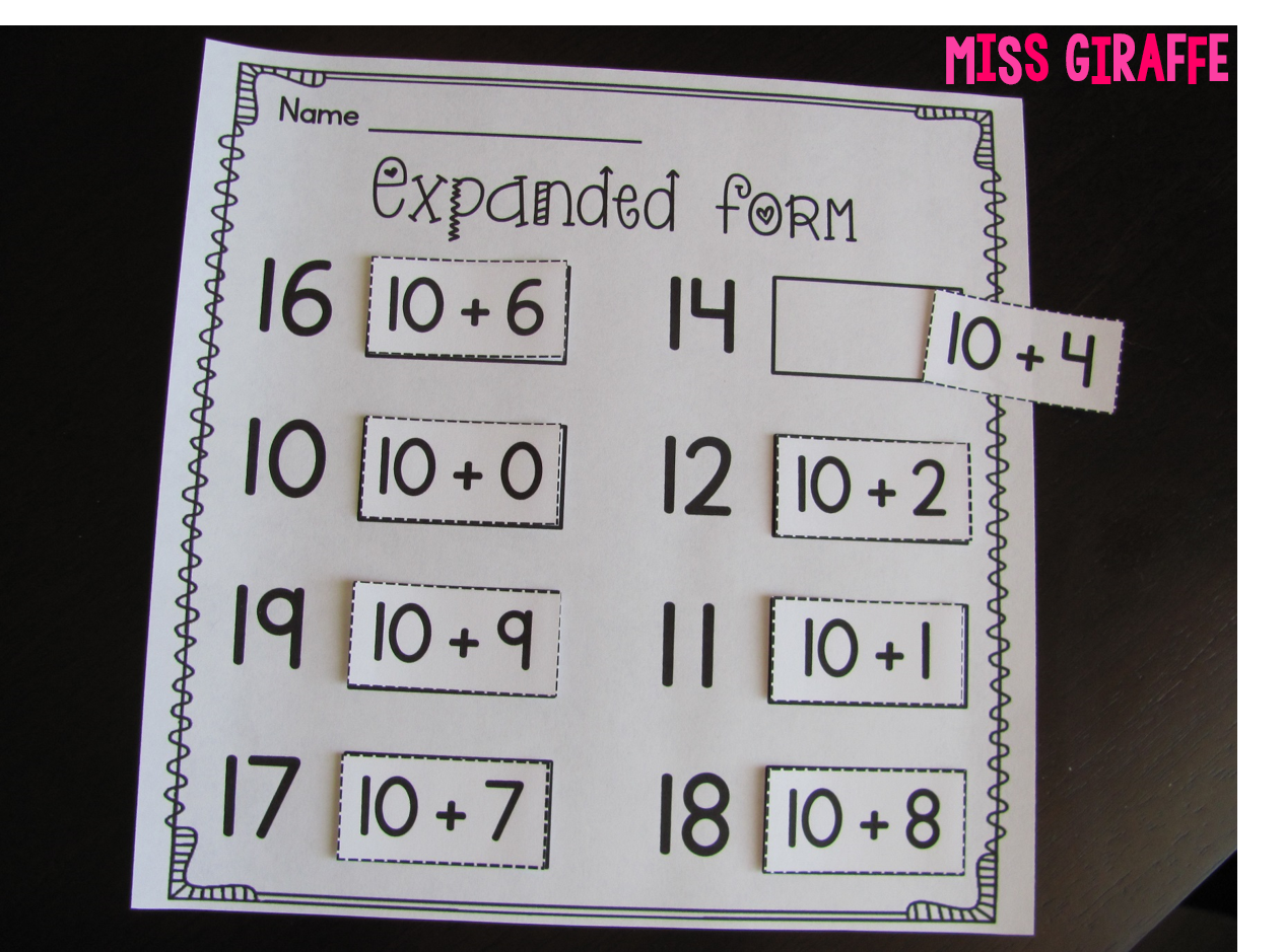 Worksheet First Grade Place Value Activities miss giraffes class place value in first grade how to teach expanded form and other concepts or kindergarten