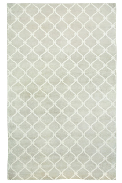 COCOCOZY Fence wool rug taupe tan linen Indo Tibetan hand knot knotted graphic pattern design