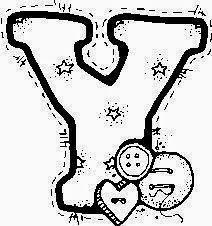 desenho de alfabeto de tecido e botoes para pintar letra Y