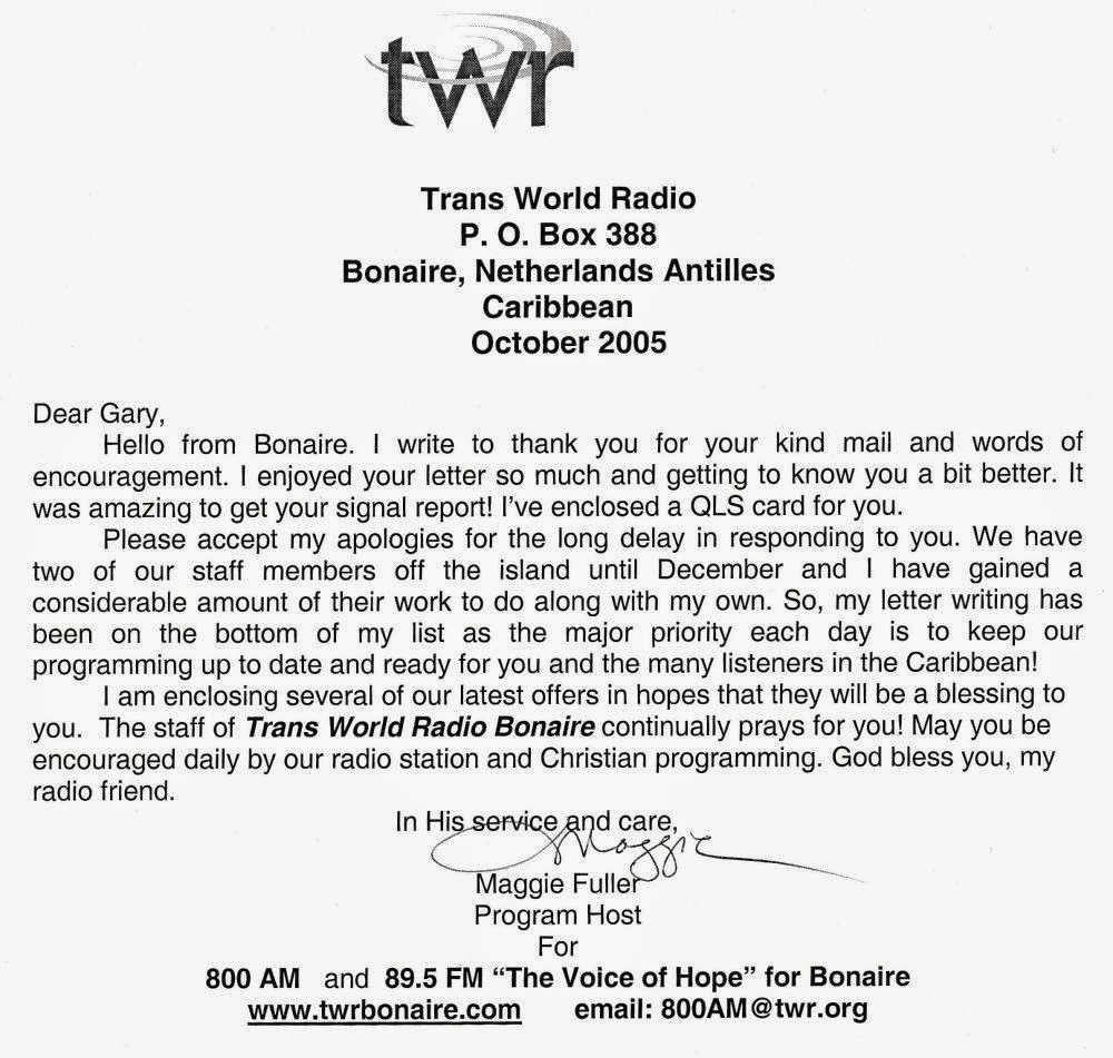 program host maggie fuller kindly replied to my reception report with a friendly letter and included a station sticker with a qsl card
