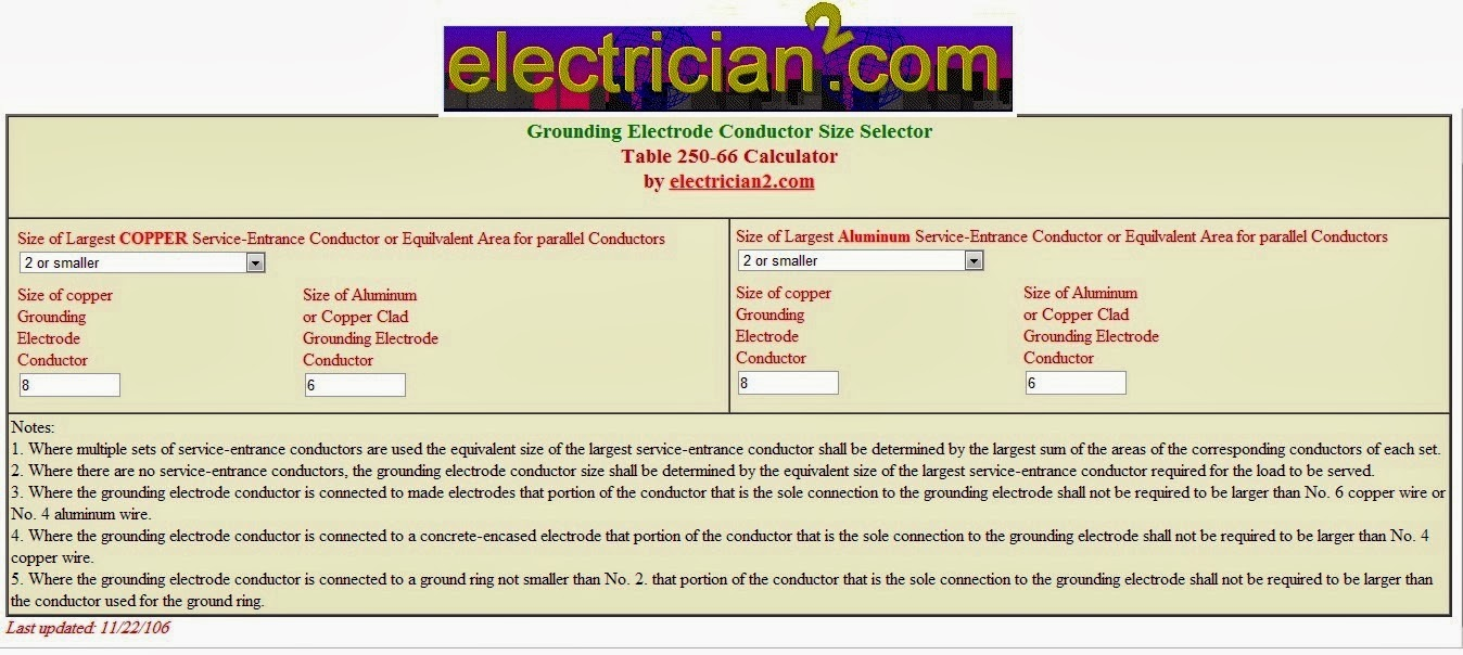 Grounding design calculations part eight electrical knowhow grounding electrode conductor size calculator keyboard keysfo Images