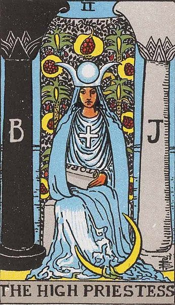 image of High Priestess card from Rider-Waite Tarot deck