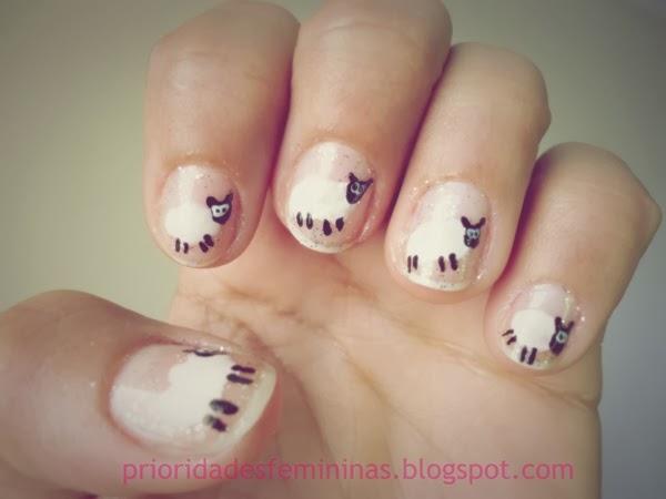 nail art ovelha, unhas para a páscoa