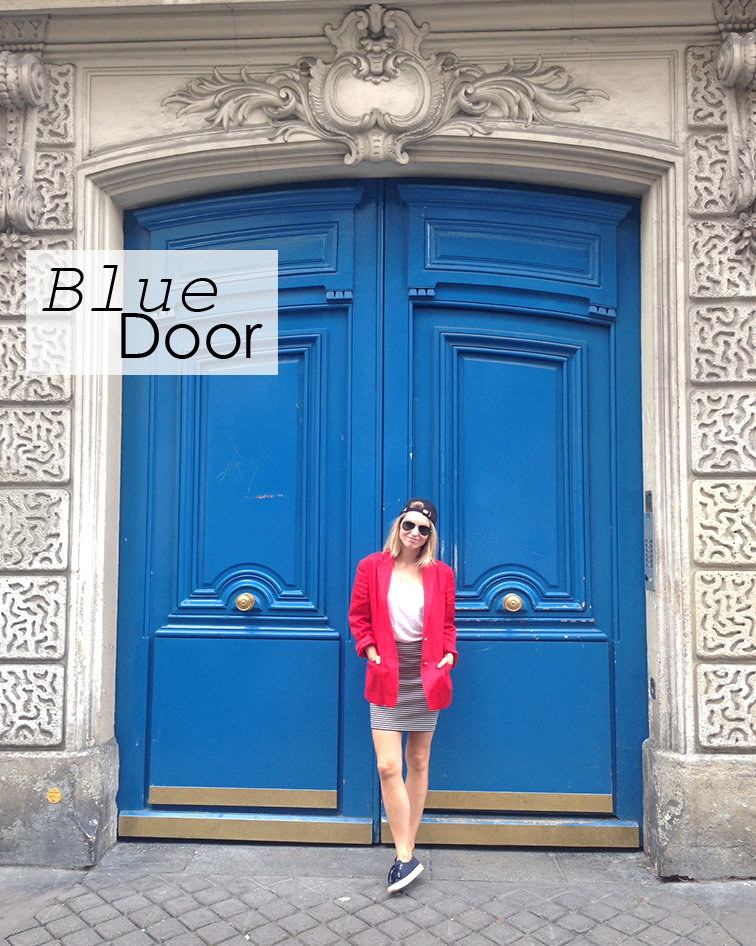 Giant blue doors in Paris, red white and blue look
