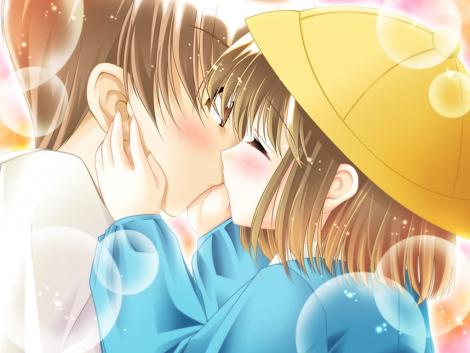 anime couples kiss. cute anime couples kiss.
