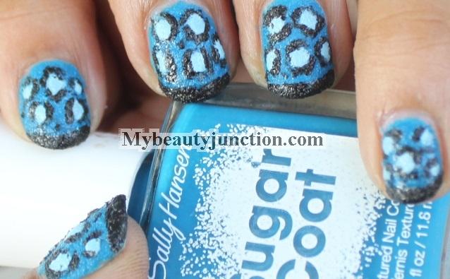 Manicure: Blue textured leopard print nail art with Sally Hansen Sugar Coat nail polish