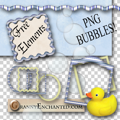 Free Bath Time Digi Scrapbook PNG Elements