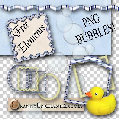 Free Bath Time Digi Scrapbook PNG Elements