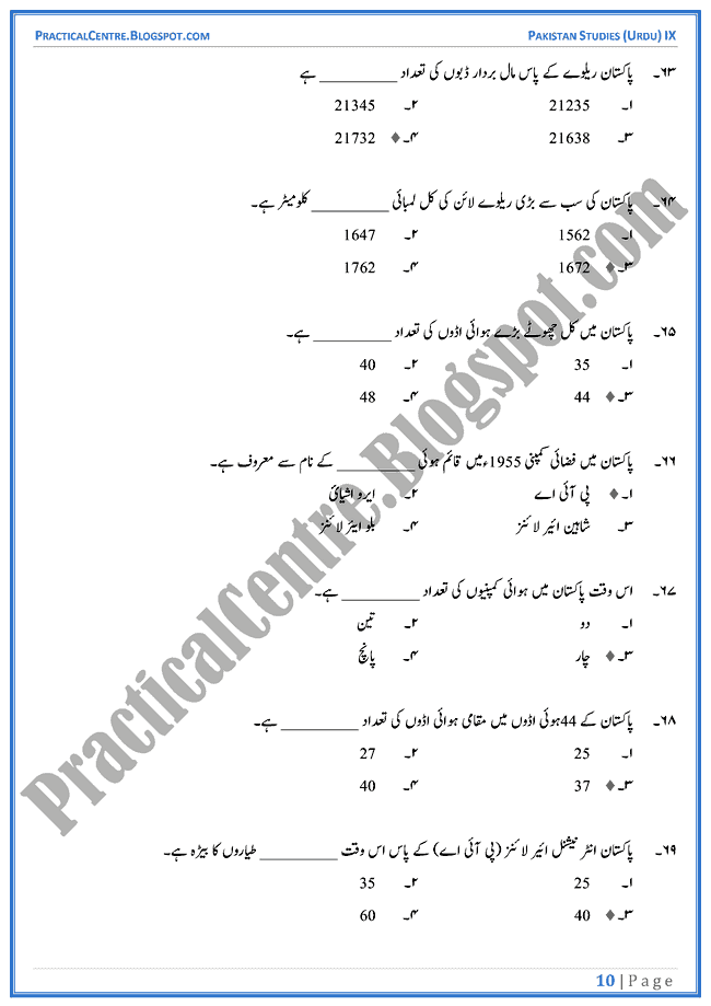 industrial-development-in-pakistan-mcqs-pakistan-studies-urdu-9th