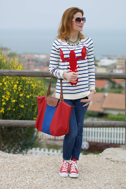 Asos lobster sweater, Firmoo sunglasses, red Converse shoes