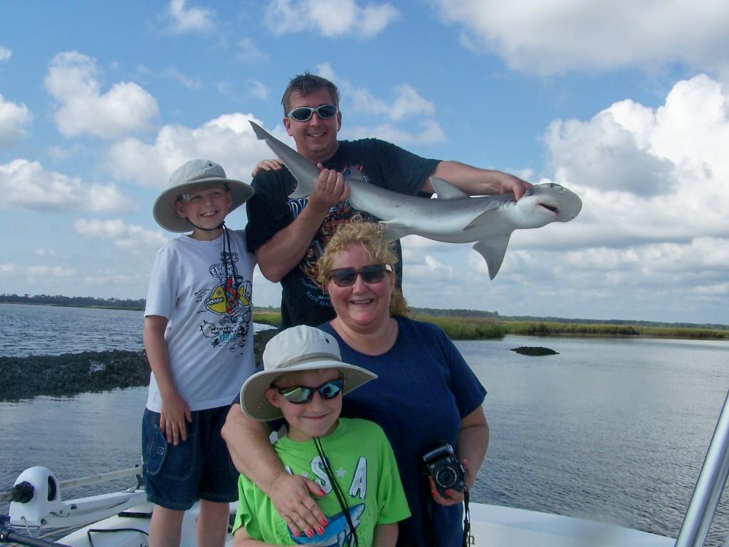 family with shark