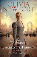 cover of The Dilemma of Charlotte Farrow by Olivia Newport shows a woman in a grey dress standing on a street with the 1893 Chicago World Fair off in the distance