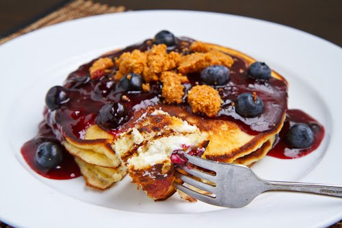Blueberry Cheesecake Pancakes on Closet Cooking