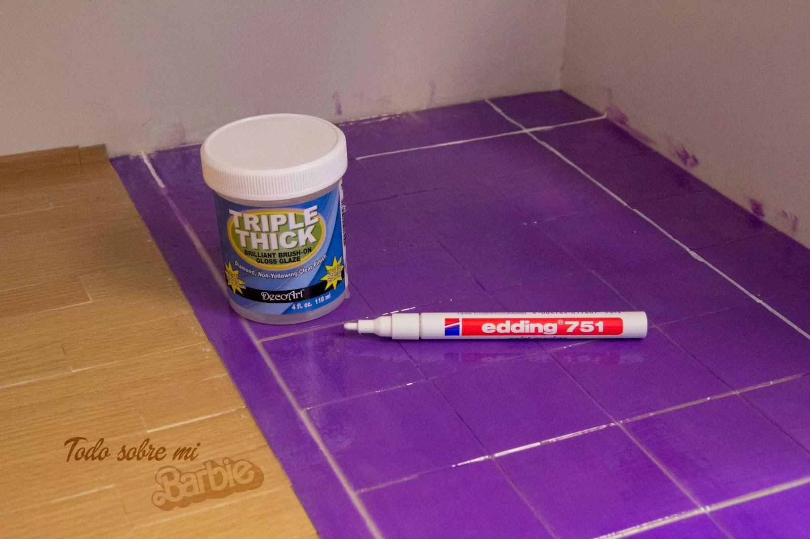Todo sobre mi barbie suelo azulejo for Pintar suelo ceramico