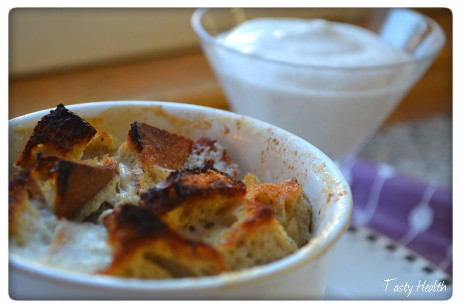 tasty health äpple kanel brödpudding med vaniljkräm