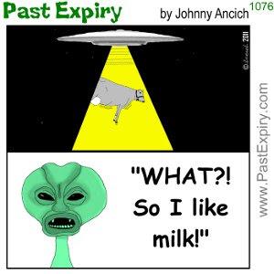 [CARTOON] Who wants FREE MILK? cartoon, drinks, food, ufo, alien