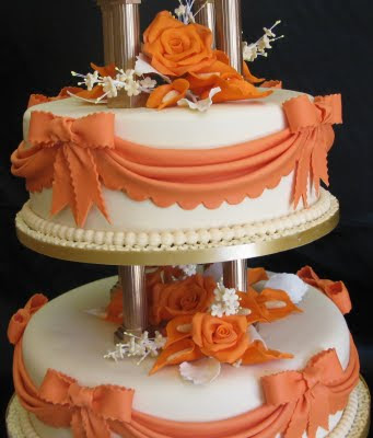 Orange Wedding Cakes With Tropical Flowers