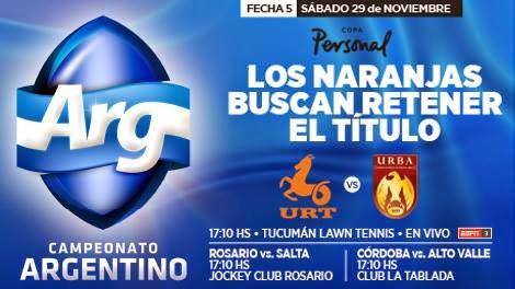 5º fecha del Argentino de Rugby: Tucumán vs. Buenos Aires por Tv