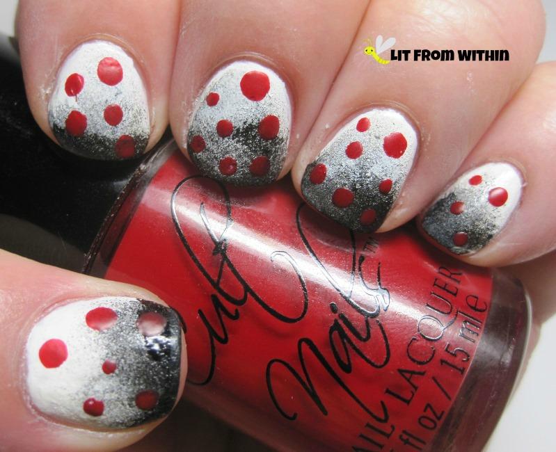 cute dotticure with Cult Nails Kiss, a matte red