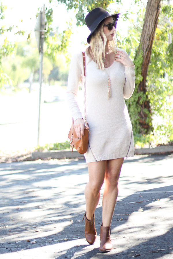 sweater dress with booties fall transition