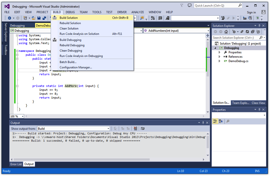 Building C# Project in Microsoft Visual Studio