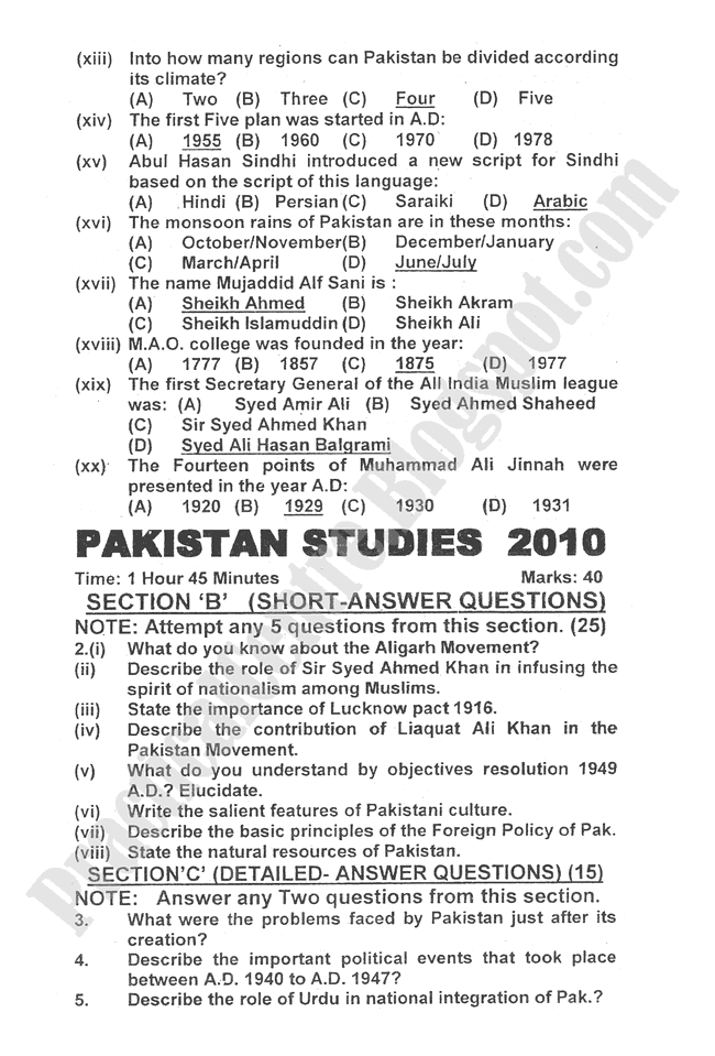 Pakistan-Studies-2010-five-year-paper-class-XII