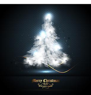美しい光で型どったクリスマス・ツリー beautifully halo christmas tree イラスト素材