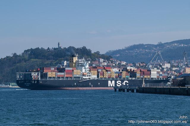 msc krystal, container ship, puerto de vigo, msc, vigo